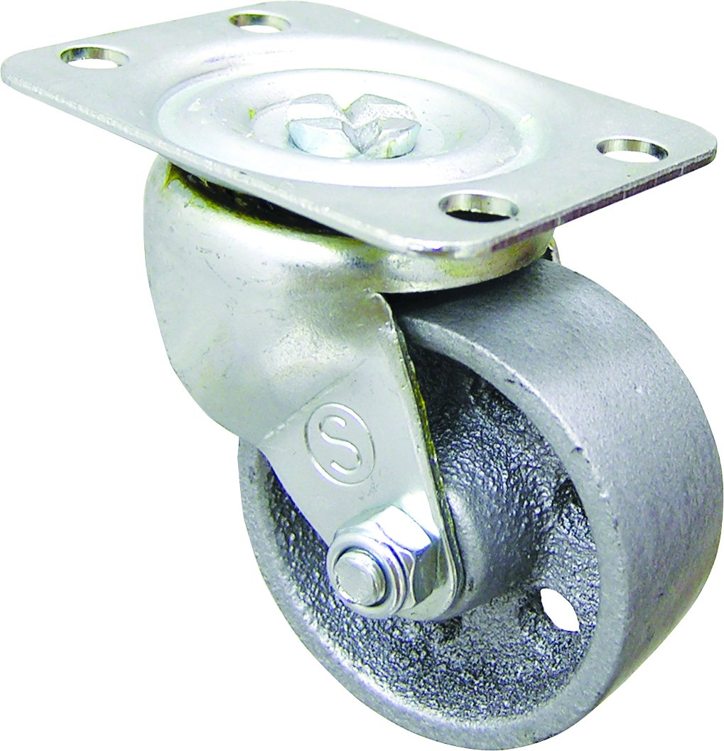 Shepherd Hardware 9174 2 Inch Cast Iron Swivel Plate Caster 125 lb Load Capacity