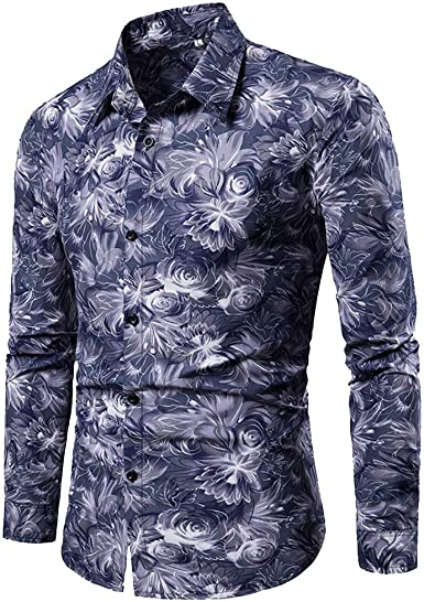 TIFIY - Camisa de Manga Larga para Hombre, Estilo Informal, M-3XL Azul XXL: Amazon.es: Ropa y accesorios