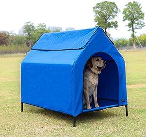 AmazonBasics Elevated Portable Pet House, Large (51 x 41 x 34 Inches), Blue