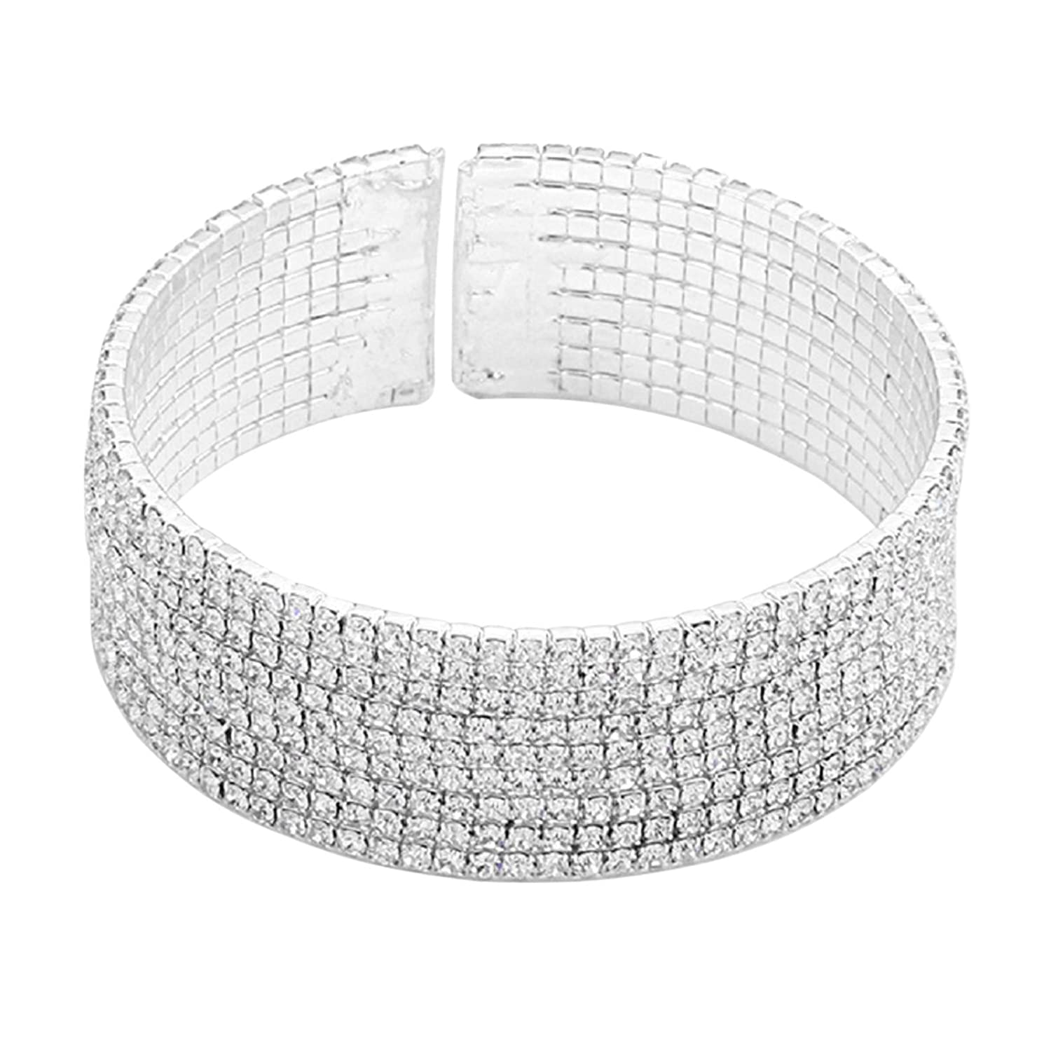 Rosemarie Collections Women's Bridal Jewelry Crystal Cuff Bracelet
