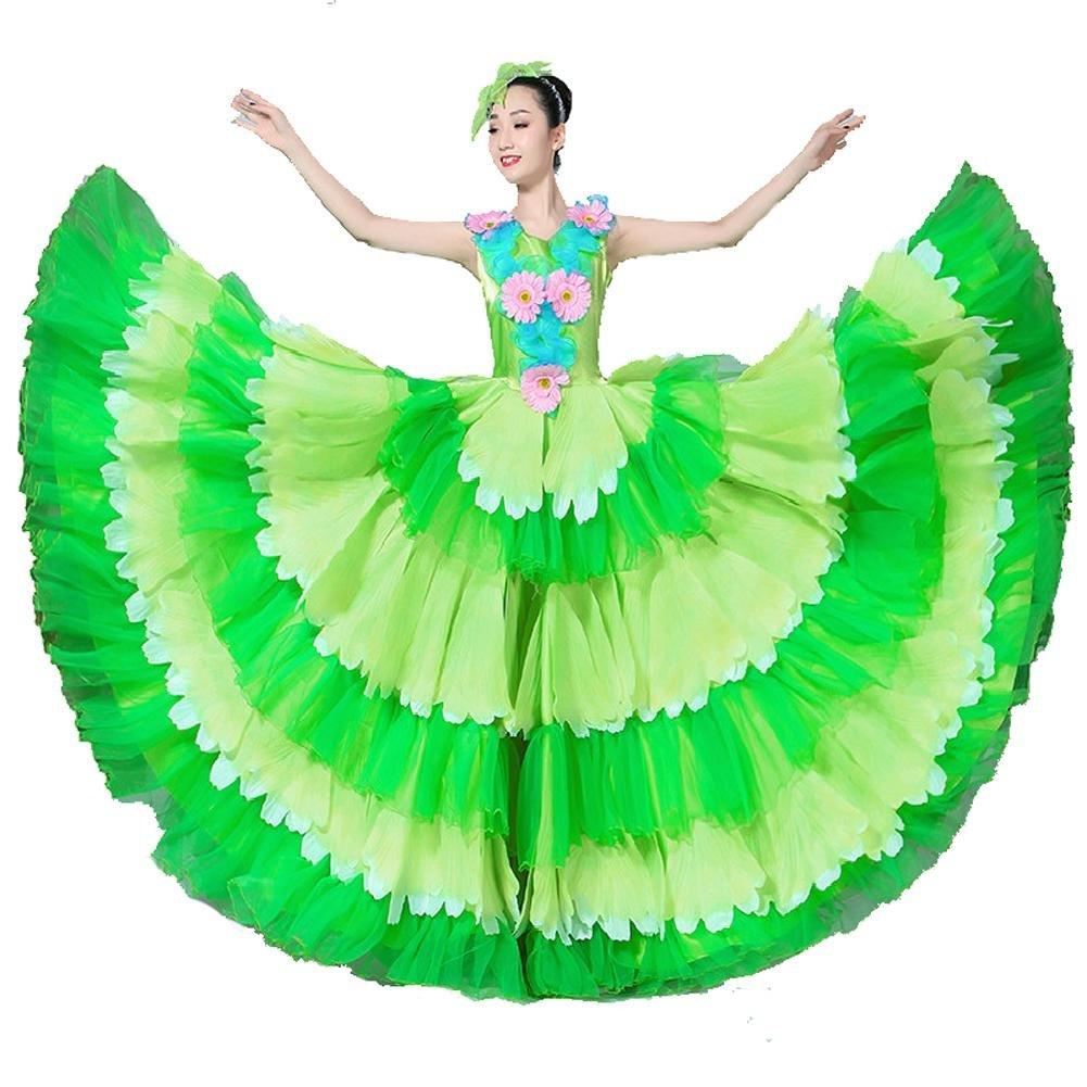 Vert skirt 180 Wgwioo Robe De Flamenco pour Femme Adulte 180 360 540 720 Foulards en Devert Jupe Costumes De Perforhommece Ouverture Danse Floraison Florissante Big Swing Chorus XXL