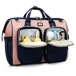 Diaper Bag with Stroller Hook and Multiple Pockets (Pink with Navy Blue)