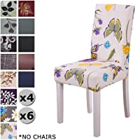 YISUN Modern Stretch Dining Chair Covers Removable Washable Spandex Slipcovers for High Chairs 4/6 PCs Chair Protective Covers