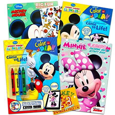 Disney Mickey Mouse Coloring Book Super Set With Stickers 4 Mickey Mouse Activity Books For Kids Toddlers