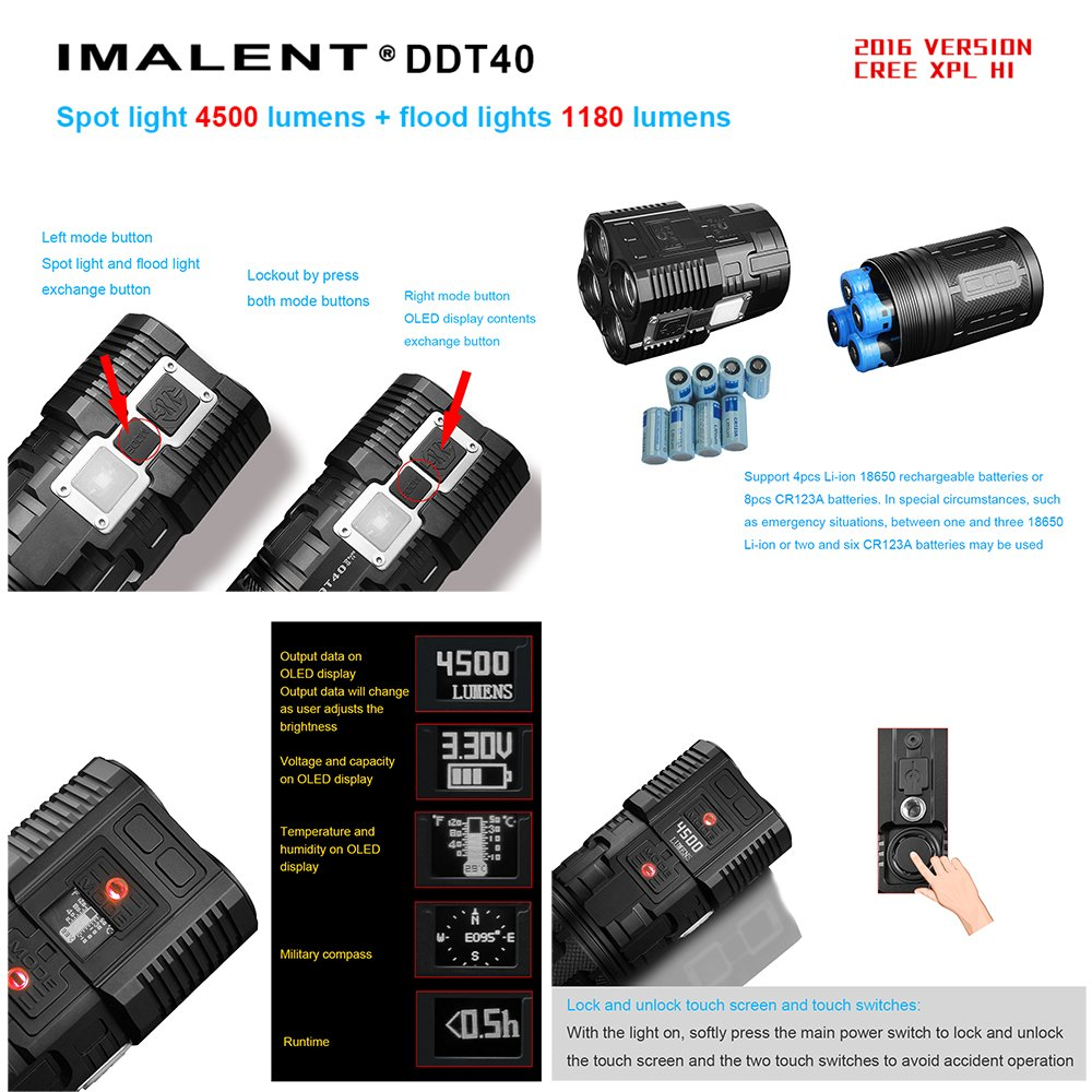 IMALENT DDT40 4200 Lumens +1180 Lumens Flood Light Searching Flashlight for Camping, Running, Hiking,with 18650 Battery by IMALENT (Image #3)