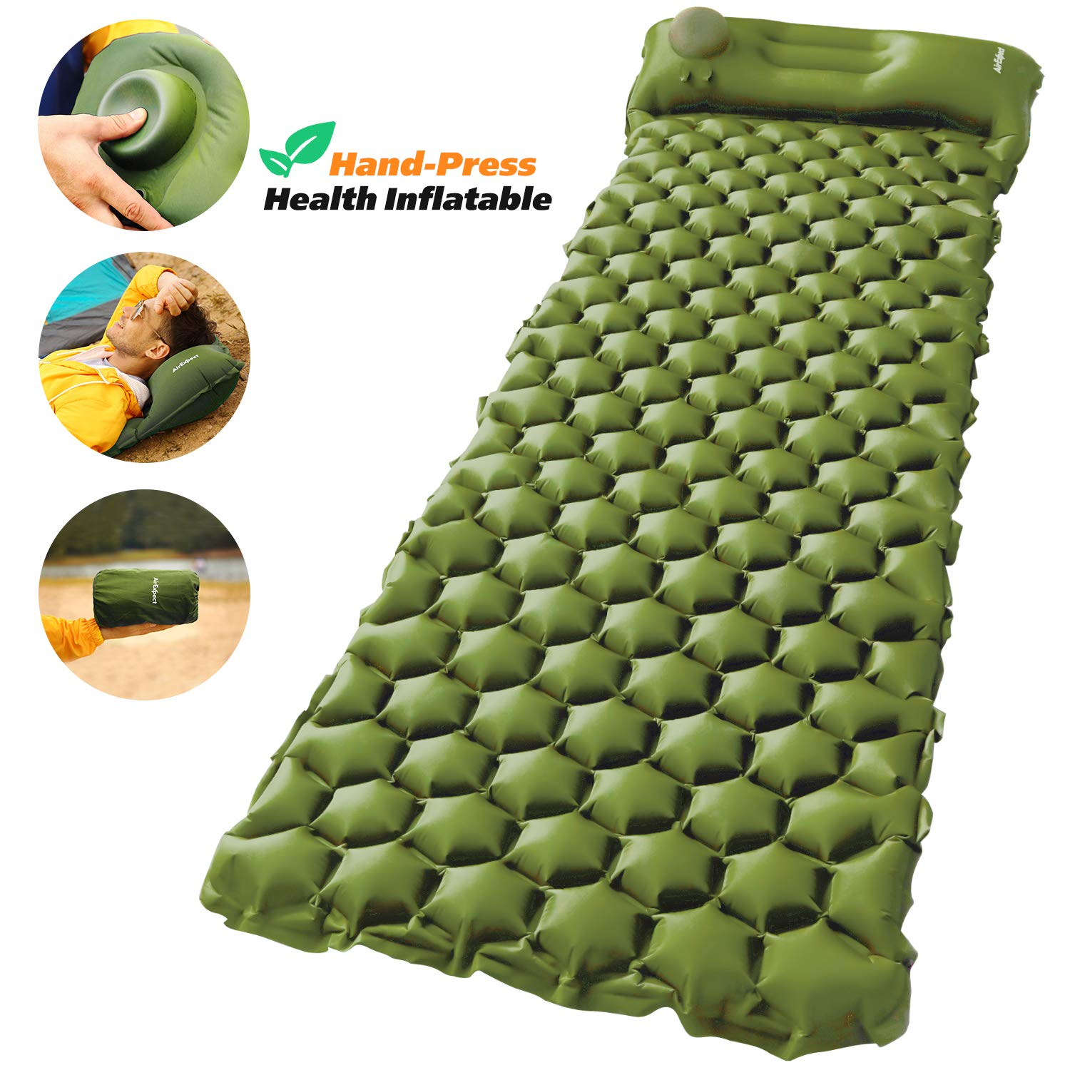 AirExpect Camping Sleeping Pad with Built-in Pump Upgraded Inflatable Camping Mat with Pillow for Backpacking, Traveling, Hiking, Durable Waterproof Air Mattress Compact Ultralight Hiking Pad by AirExpect