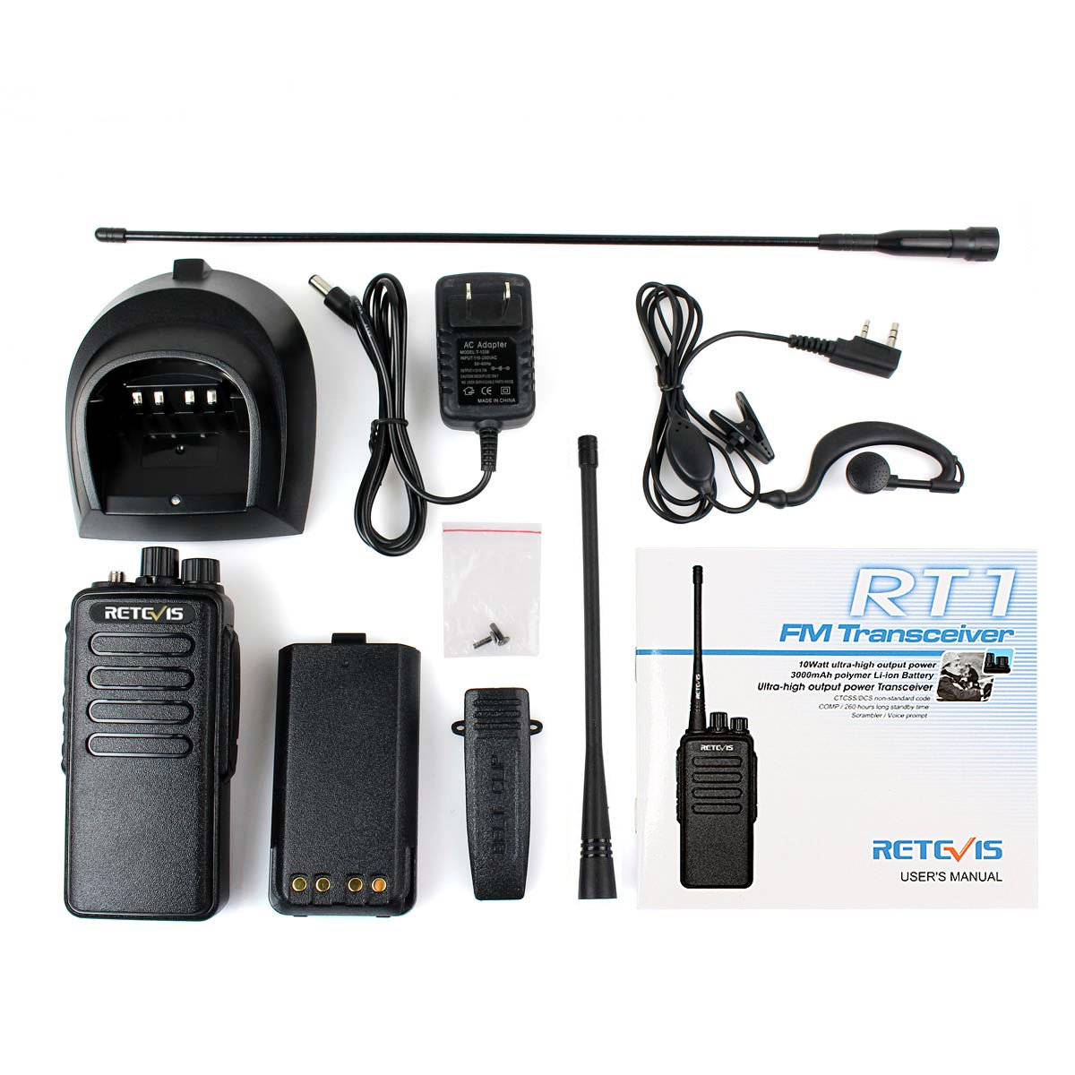 Retevis RT1 10W UHF Two Way Radio 70CM 400-520 MHz 16CH VOX Scrambler Ham radio and Speaker Mic (5 Pack) by Retevis (Image #8)