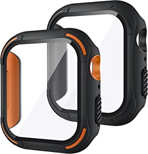 [2Pack] Tensea for Apple Watch Screen Protector Case SE Series 6 5 4 44mm 40mm Accessories, iWatch Protective PC Face Cover Built-in Tempered Glass Film, Rugged Bumper Case 44 40 mm Men (40mm)