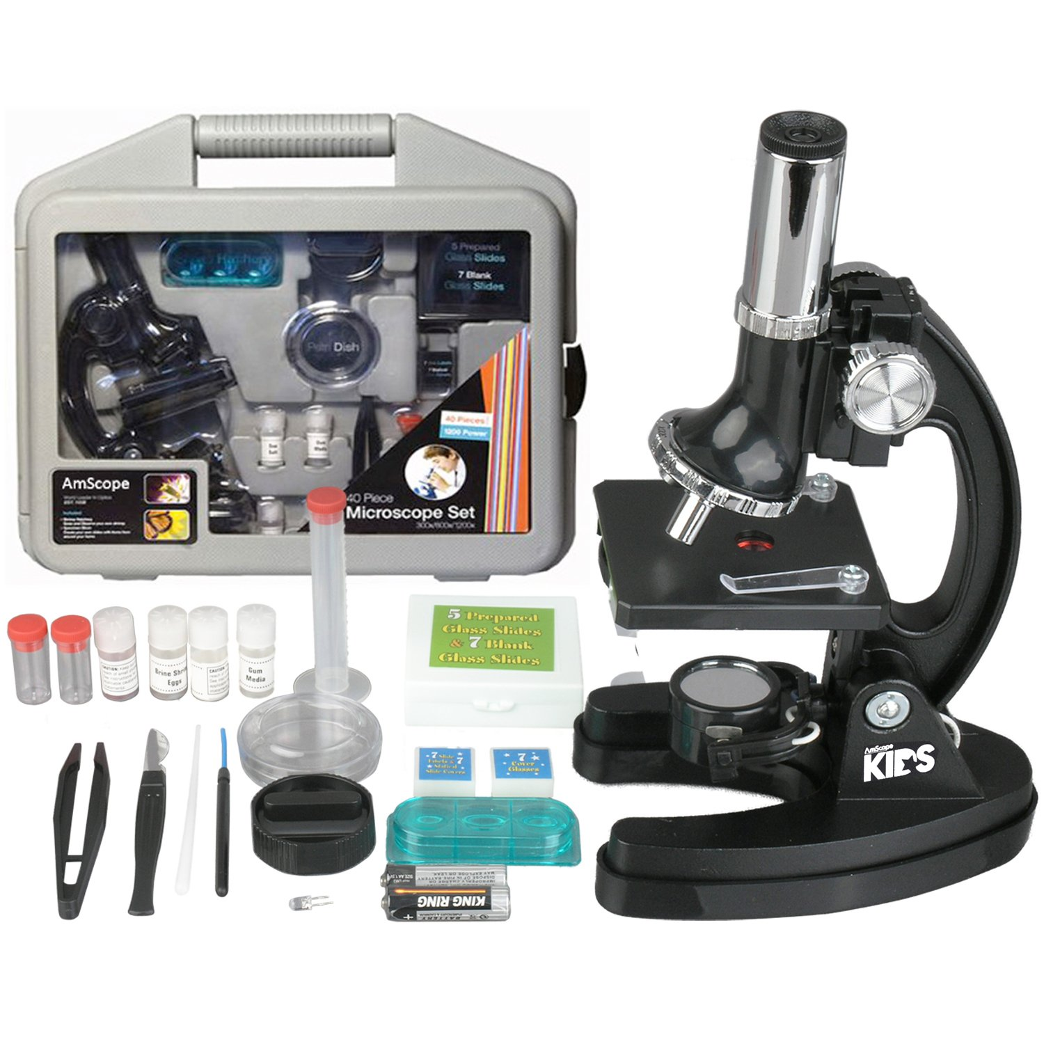 AMSCOPE-Kids M30-ABS-KT51 120x-1200x 6-Powers Metal Frame & Base with 52-pc Accessories, Among The TOP 3 Picks of The Best Student Beginner Microscope Kit in 2016, Recommended by Multi Organizations by AmScope