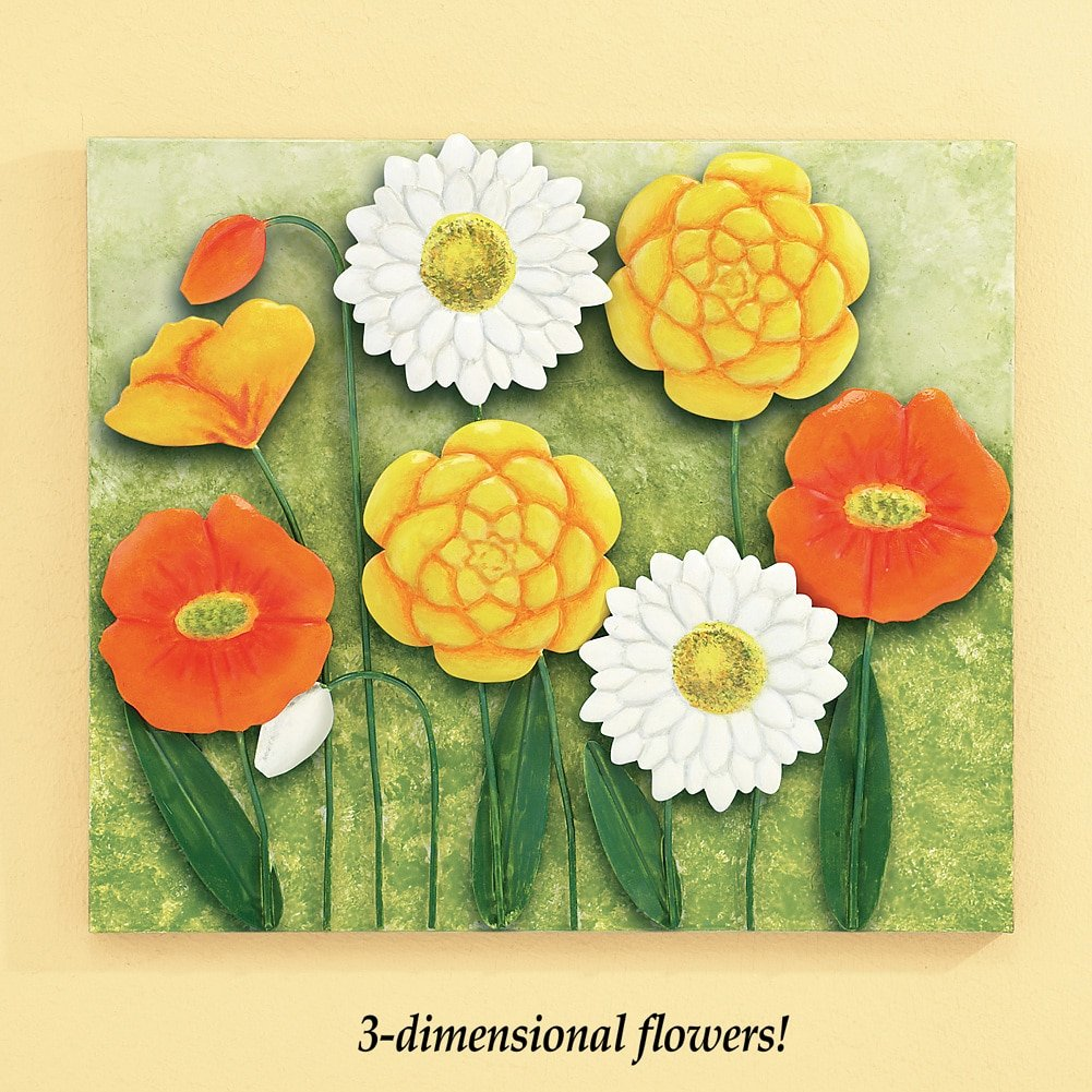 Amazon.com: 3D Floral Poppy Metal Wall Art in Orange, Yellow, Green ...