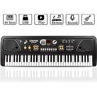 Numérique Musique Clavier Piano 61 Clé, JINRUCHE Grand Piano Portable Clavier Électronique Instrument De Musique Multifonction D'apprentissage Jouet Éducatif