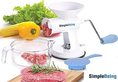 Simple Being Manual Meat Grinder Set w/Stainless Steel Blades