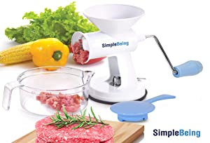 Simple Being Manual Meat Grinder Set with Stainless Steel Blades and Powerful Suction Base, All Purpose Heavy Duty Kitchen Mincer