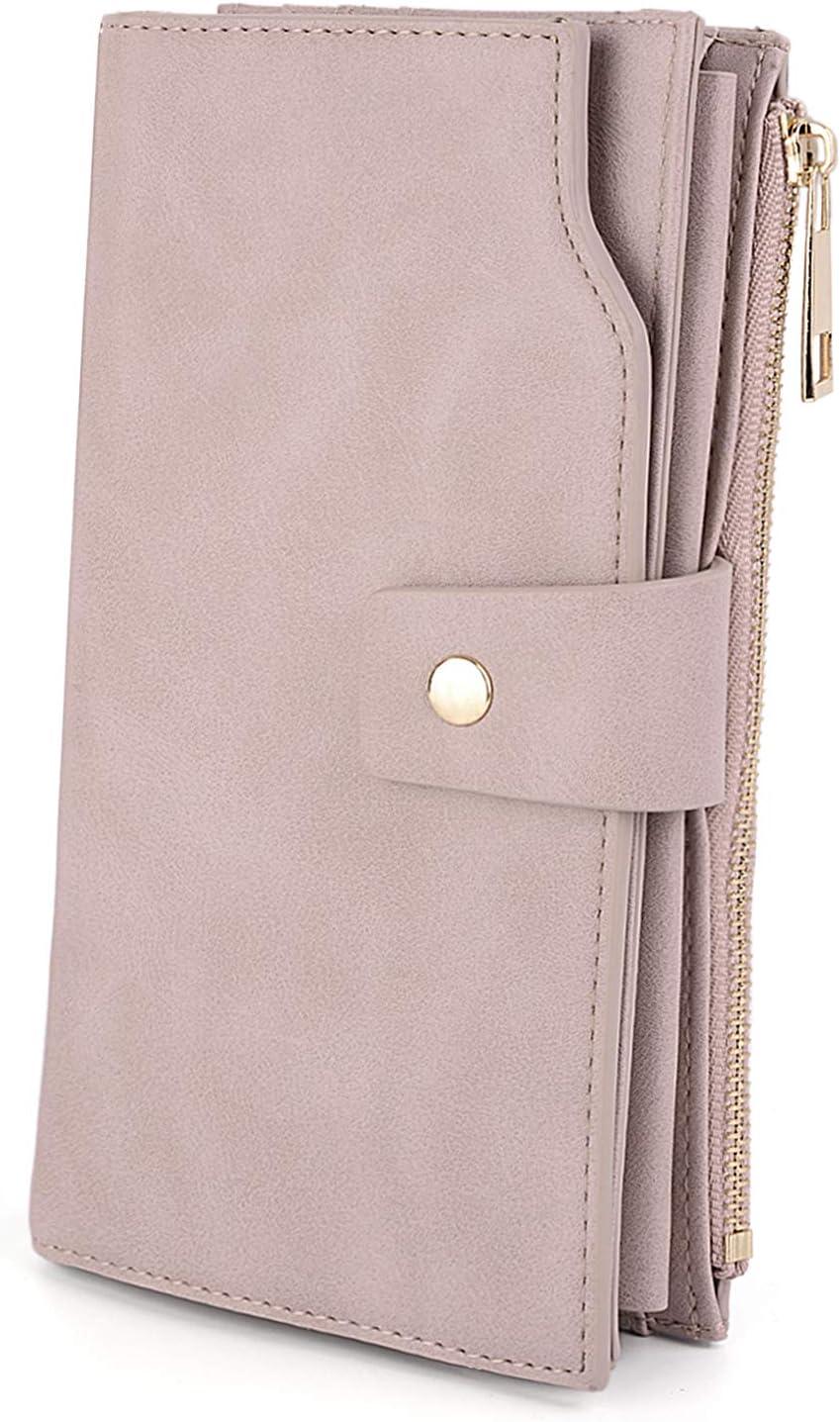 UTO - Mujer Cartera de Bloqueo de RFID PU Cuero Monedero Largo 21 Ranuras para Tarjetas Monedero Gran Capacidad Bolsillo para Móvil Rosa Claro