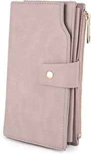 Wallets for Women RFID Large Capacity PU Leather Clutch Card Holder Organizer Ladies Purse Wrist Strap