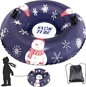 JUOIFIP Snow Tube, 47 Inch Thickened Snow Tube for Kids and Adults Heavy Duty Snow Sledding Tube with Higher Handles, Carrying Bag+Pull Strap Included