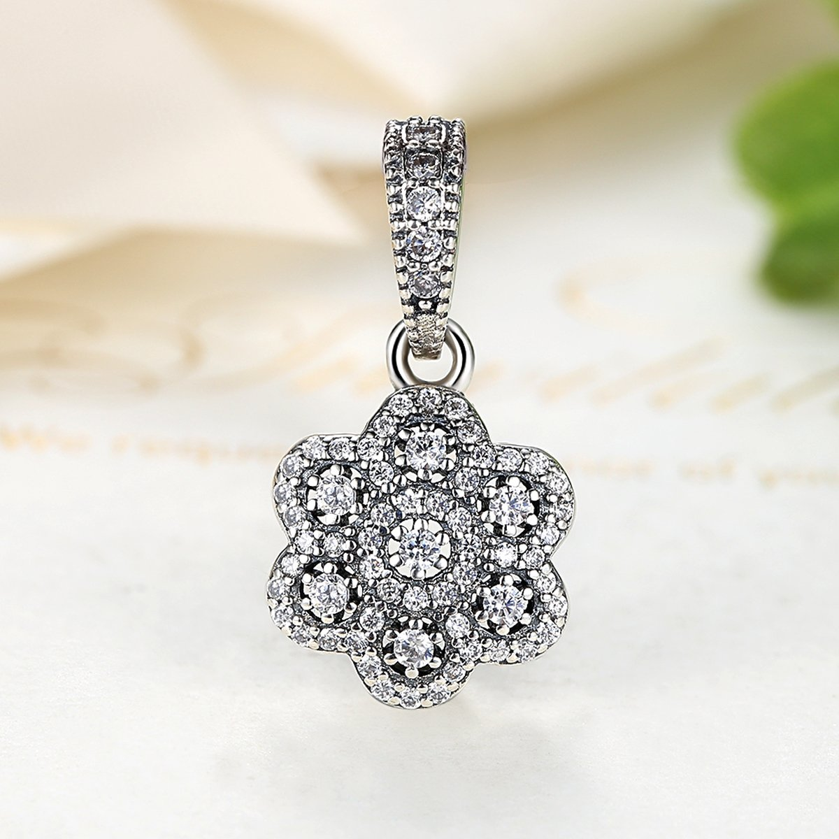 e1517e09b4f16 Crystalized Floral Clear CZ Dangle 925 Sterling Silver Bead Fits ...