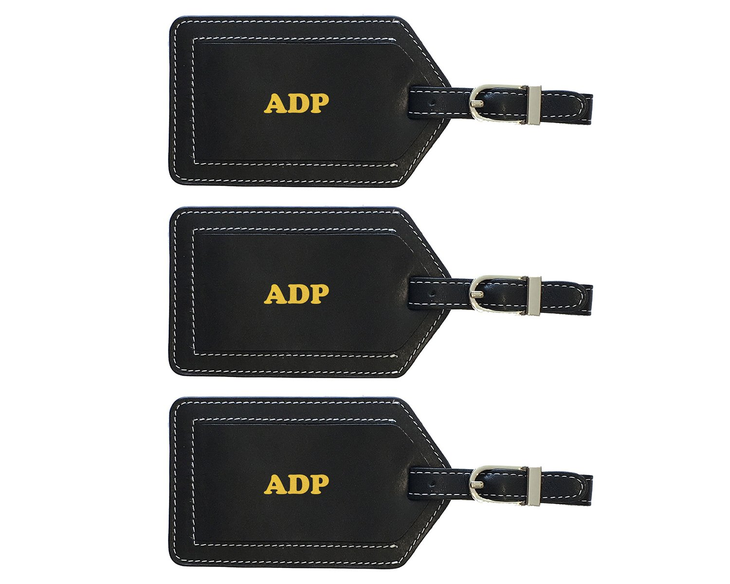 Personalized Monogrammed Black Leather Luggage Tags - 3 Pack by 123 Cheap Checks