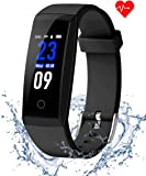 goopow Fitness Tracker hr,Fitness Pedometer Watch Colorful Screen Heart Rate Monitor Activity Tracker and Workout Tracker Bluetooth Smart Bracelet Watch for IOS & Android
