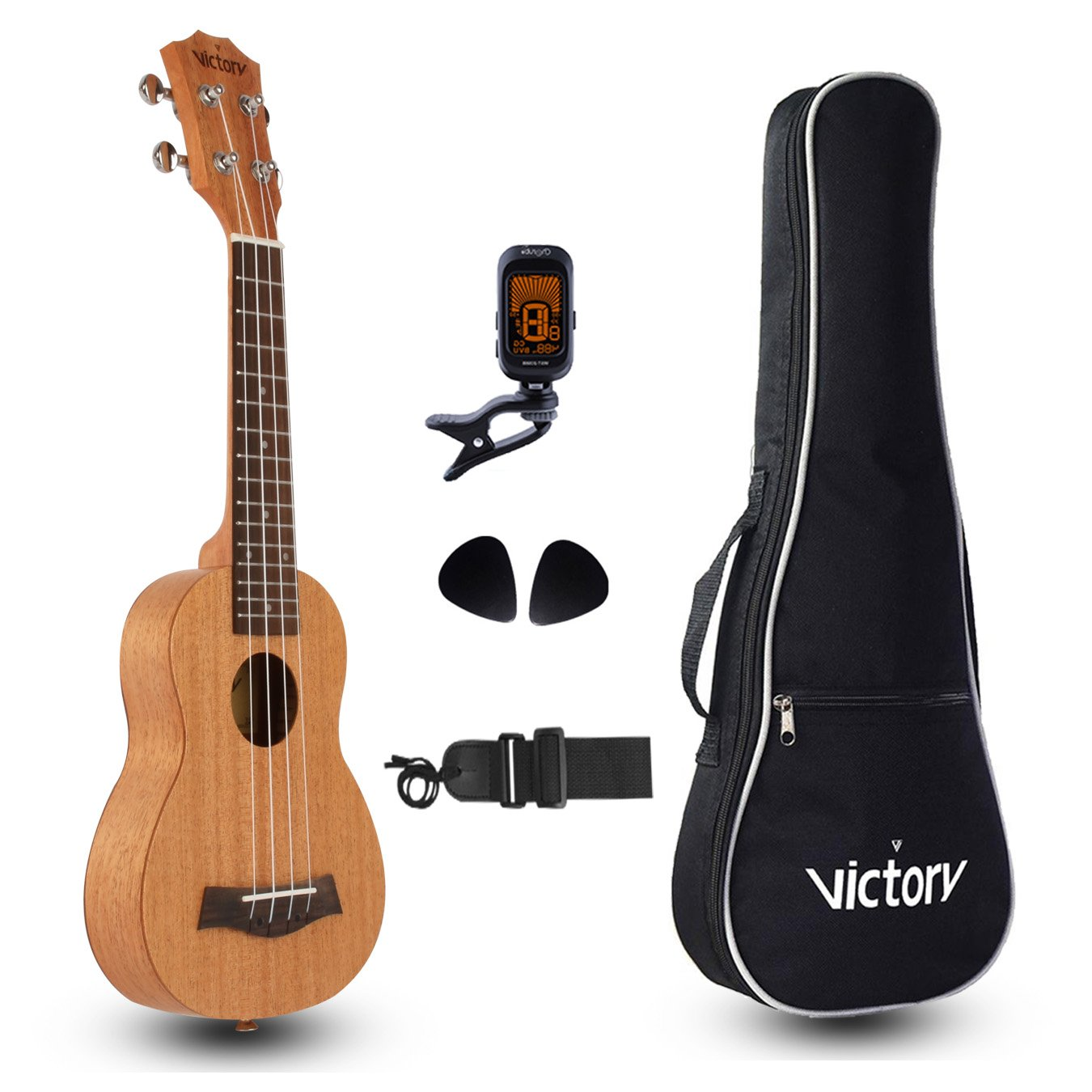 CYC Music Soprano Ukulele 21 Inch Mahogany Aquila String, Beginner Kit Tuner Gig Bag Straps and Picks - Black VI VICTORY