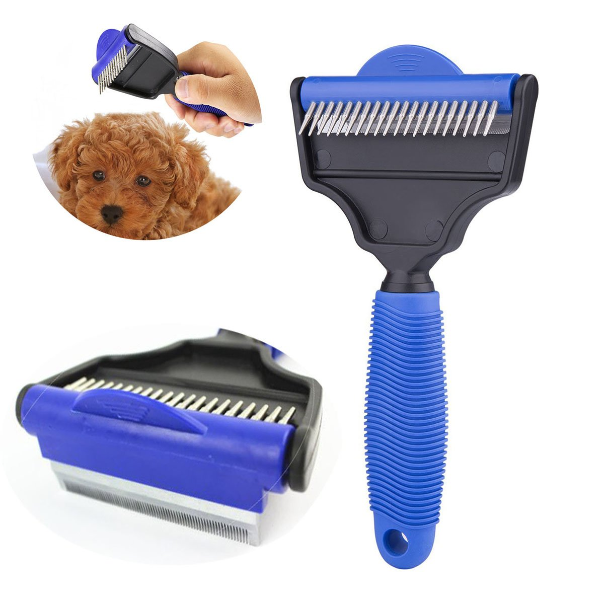 Pet Grooming - The Desheddinator Dog Brush Dog Comb and Undercoat Rake for Dogs Cats + Horses. Cat Brush for Shedding, Cat Grooming Brush, Cat Comb & Cat Groomer At Cat Products. De-shedding Tool