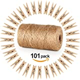 Absofine 328 Pieds Ficelle de jute et 100 pièces Mini en bois naturel Craft Pinces à linge Craft Pinces à linge Clips pour jardinage Applications, arts Crafts Cadeau de Noël