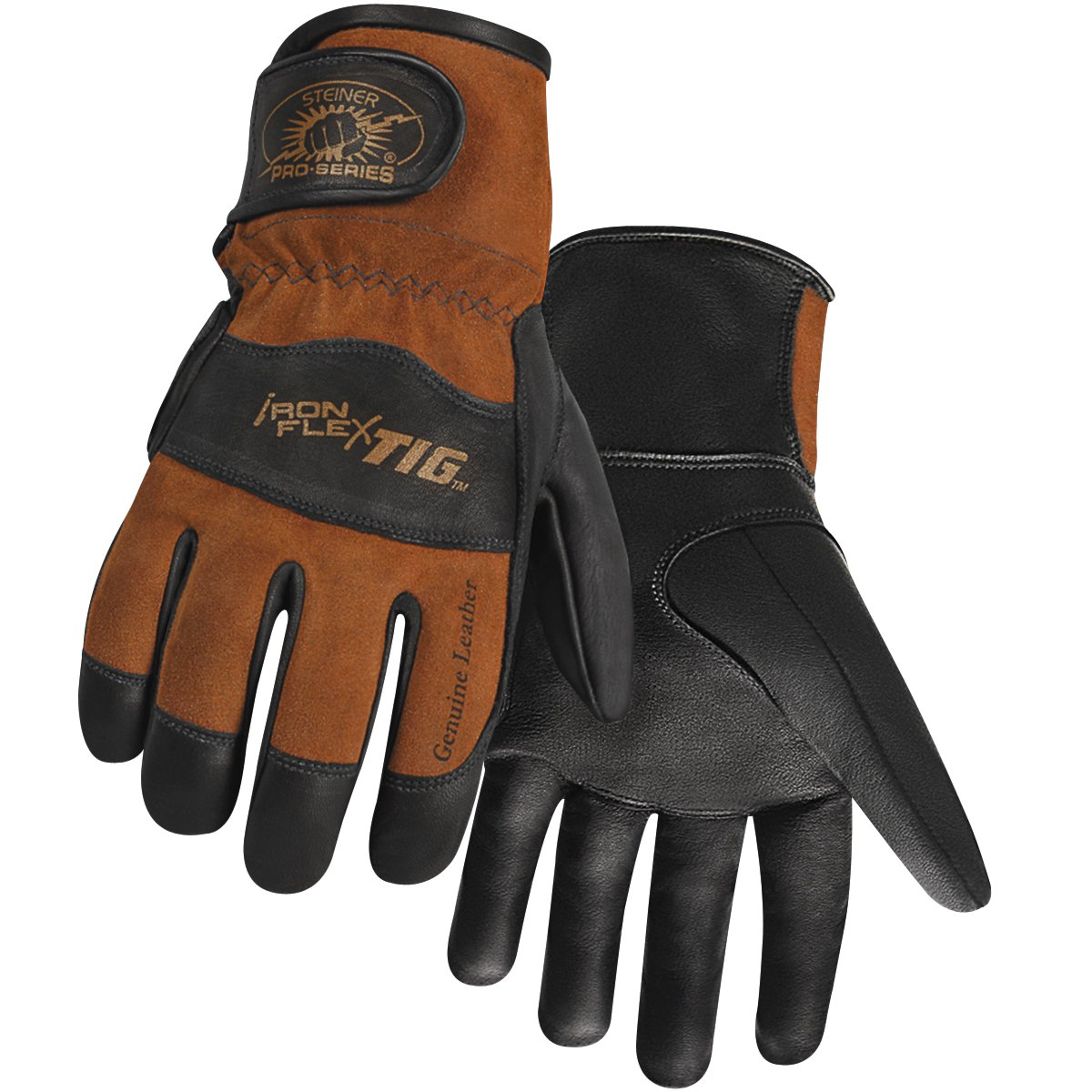 Steiner 0262-L SPS Ironflex TIG Gloves, Black Premium Grain Kidskin, Brown Reversed Grain Kidskin Back, Adjustable, Large