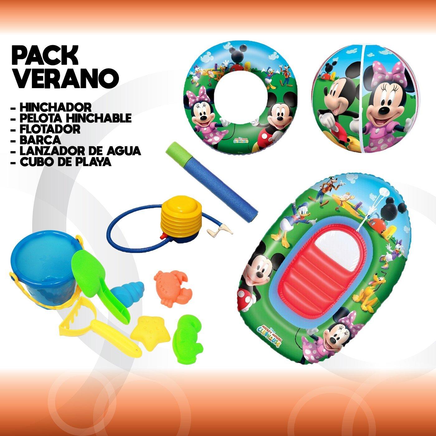 Pack Verano Ousdy / Hinchador + Flotador + Pelota + Barca + Lanzador de agua + Cubo de playa: Amazon.es: Jardín