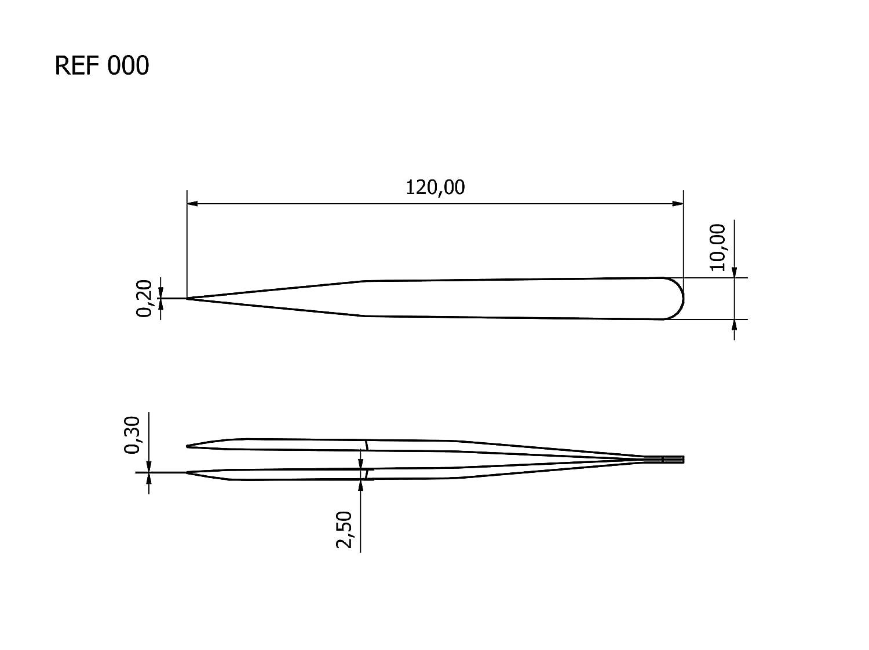 Rubis Tech Pr/äzisionspinzette 000-SA Ultrafeine technische Pinzette mit Pr/äzisionsspitze und h/öherer Druckfestigkeit 120 mm antimagnetisch s/äurebest/ändig