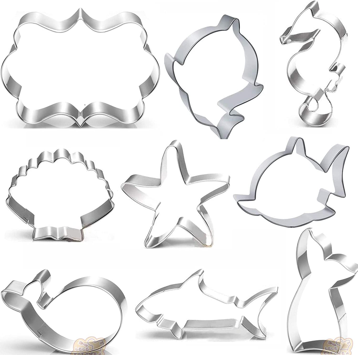 Baby shark cutte Cookie Cutters Set - 10 PCS - Mermaid Tail,baby shark,Seahorse,Starfish,Seashell,whale,Shark Cookie Cutters Molds