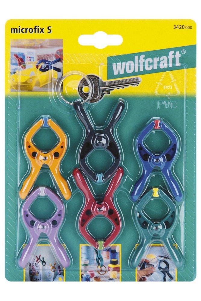 Wolfcraft 3432000 3432000-4'microfix Pinzas con Resorte, Multicolor, Set de 4 Piezas 210572