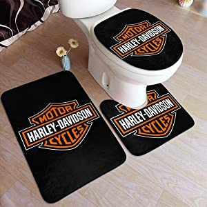 DGAGD Harley Davidson Bathroom Set 3 Piece Floor Mat Cuts Off Moisture Making It Thick Without Hurting The Floor,16