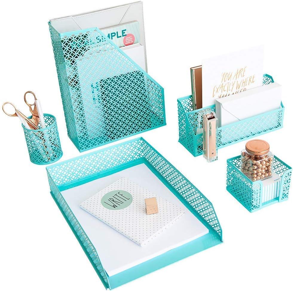Blu Monaco - Teal turística linda Organizador Desk Set - organizadores y accesorios para la mujer - lindo Oficina Accesorios de escritorio - Organización de escritorio 1 5 pieza Agua