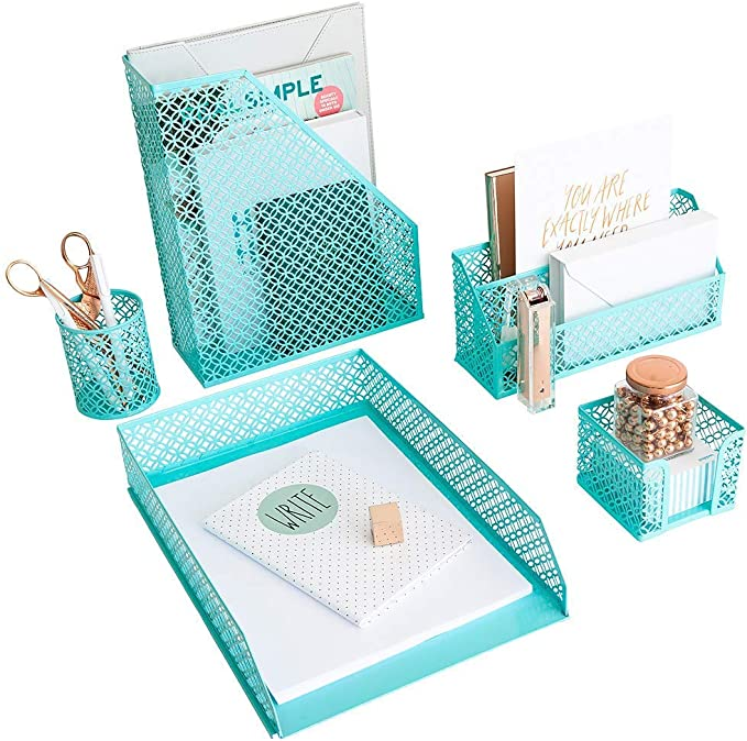 Aqua Teal 5 Piece Cute Desk Organizer Set Desk Organizers And Accessories For Women Cute Office Desk Accessories Desktop Organization Amazon Ca Office Products