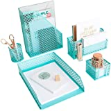 Aqua - Teal 5 Piece Cute Desk Organizer Set - Desk Organizers and Accessories for Women - Cute Office Desk Accessories…