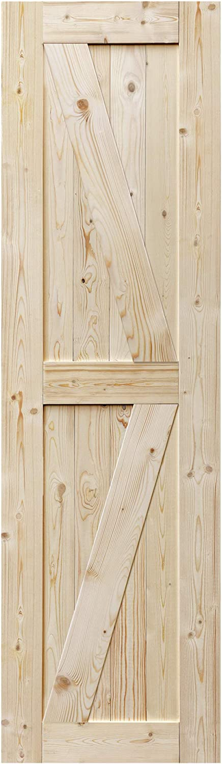S&Z TOPHAND 24 in. x 84 in. Barn Door, 20/24/28/30/32/36/38/40/42/46in Unfinished British Brace Barn Door/Modern Style/Solid Wood/Sliding Door/A Simple Assembly is Required (24, Unfinished)