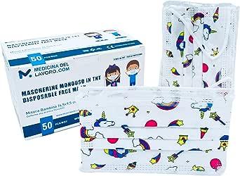 50 Mascarillas Quirúrgicas Homologadas para Niños, Certificado CE, Alta Eficiencia de Filtración BFE≥95, Mascarillas Infantiles Desechables Faciales de 3 Capas con Elásticos - [50 Piezas]