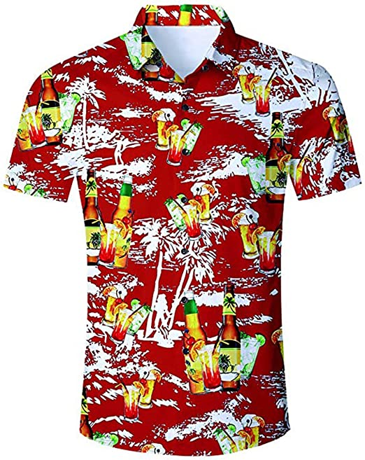 Herren Strand Aloha Shirts Hawaiihemden Blumenmuster Kurzarm Sommer Freizeithemd