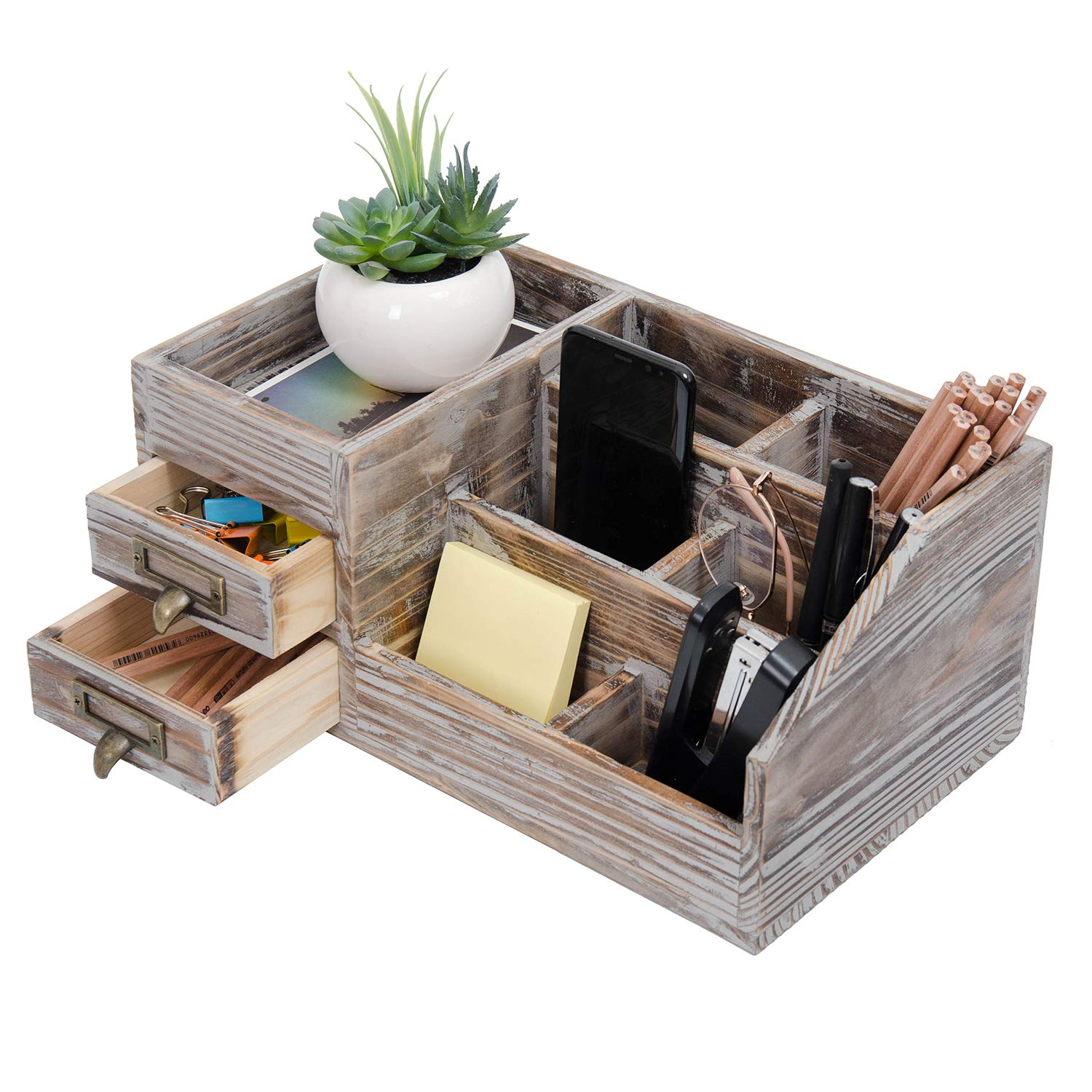 Liry Products Rustic Torched Wooden Desktop Organizer Dark Brown Tabletop Storage Cabinet Stepped Rack Multiple Compartments 2 Tier Drawers Makeup Accessory Sorter Display Box Home Office Supplies