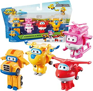 Super Wings Aviones Jett, Donnie, Dizzy & Poppa Wheels Set Mini Transform: Amazon.es: Juguetes y juegos