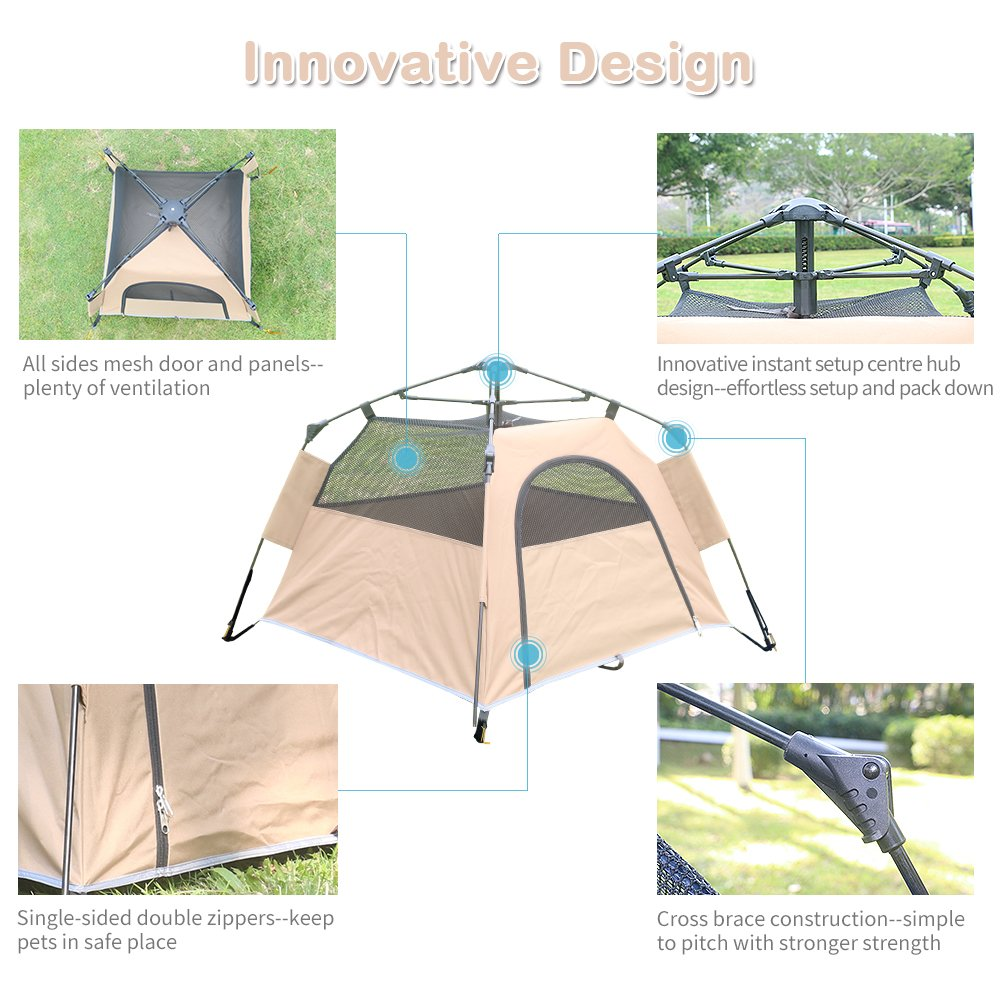 Yolafe Portable Pet Tent, Outdoor Pet Kennel with Innovative Instant Setup Centre Hub Design, Ideal for Camping with Cats and Dogs, Included Black Carry Bag and 2 (Brown) by Yolafe (Image #4)