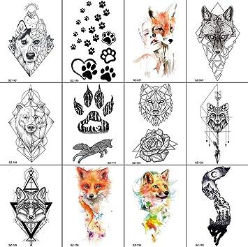 12 Hojas Impermeable Animal Serie Temporal Tatuaje Pegatina Amor ...