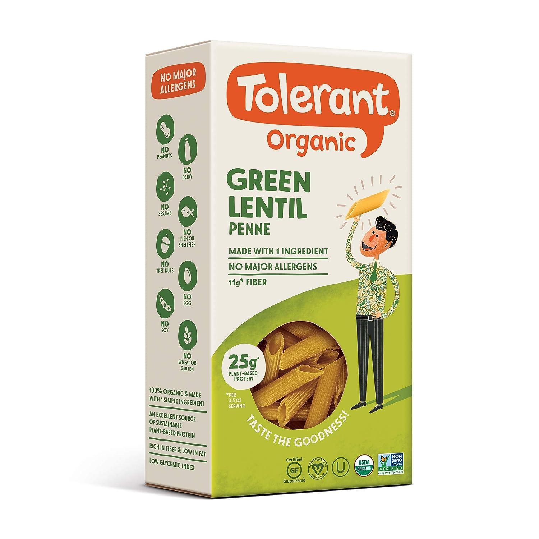 Tolerant Foods - Organic Green Lentil Pasta, Simply Legumes, Penne, 8 Oz