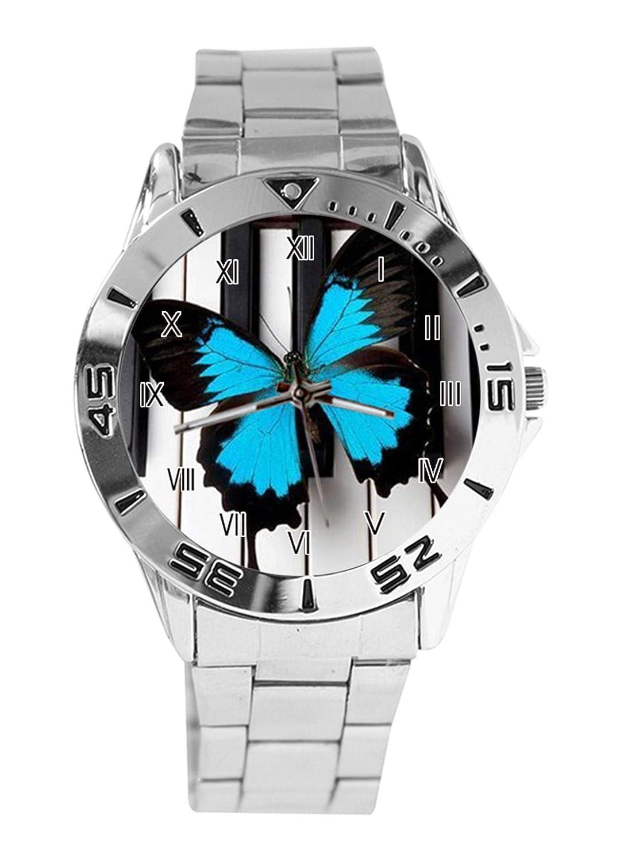 Reloj de Pulsera analógico con diseño de Mariposa y Piano ...
