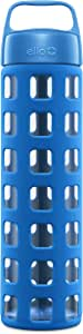 Ello Pure Glass Water Bottle with Silicone Sleeve | 20 oz | Blue Squares