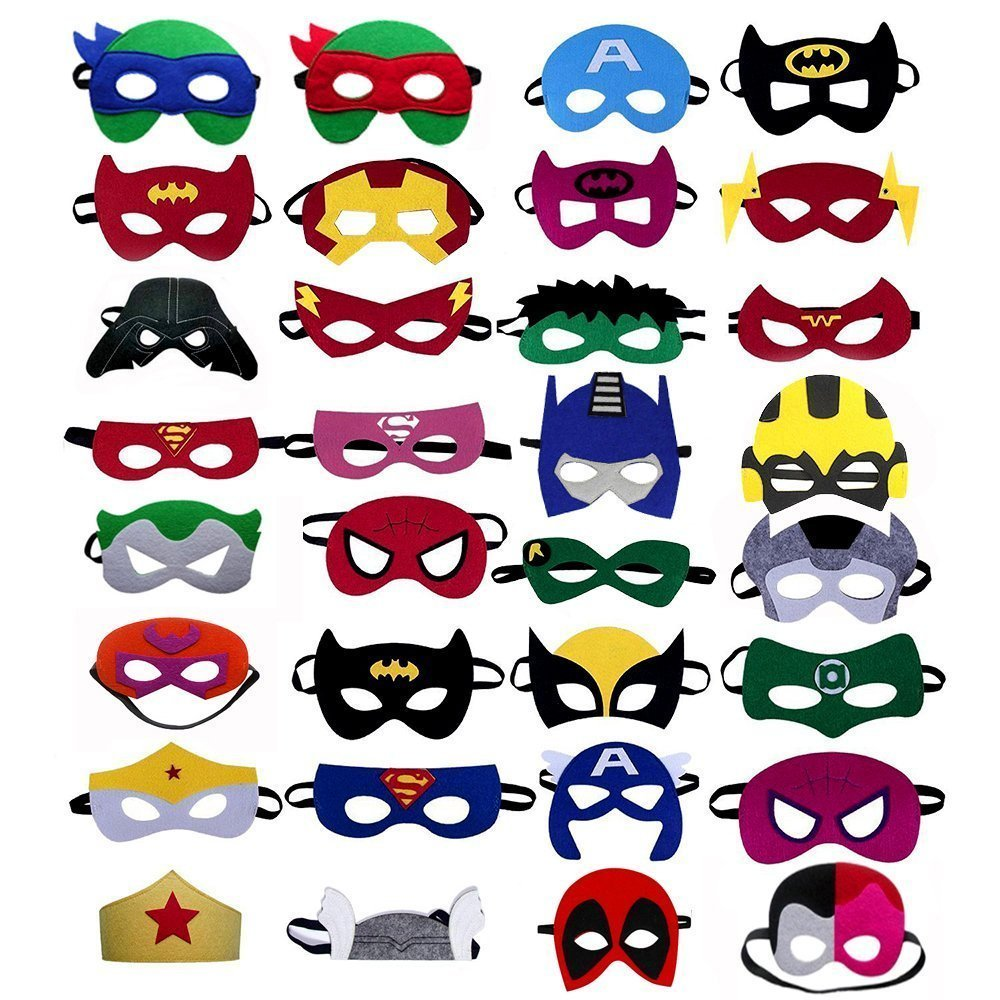 Superhero Masks 32 Mix Comic Felt Costume for Kids Party Favors Birthday Pretend Play Cosplay Dress up