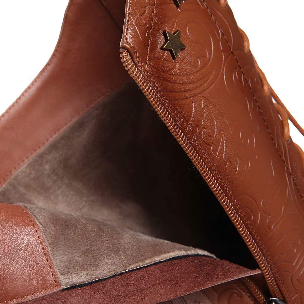 Leder Kniehohe Schnürstiefel mit 6cm Absatz High Heels Gefüttert Blockabsatz Kniestiefel Langschaftstiefel Leder Gefüttert Heels Knee High Stiefel Damen Geprägtes Stiefel dab910