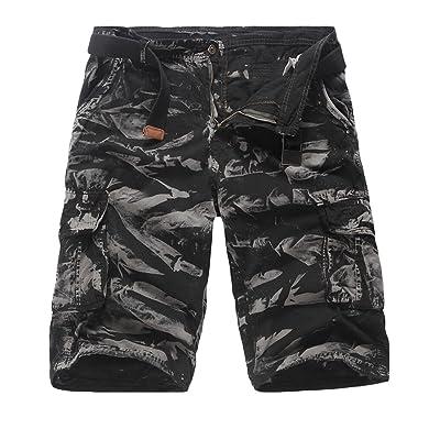Acquaa Mens Casual Summer Loose Pocket Cargo Shorts No Belt