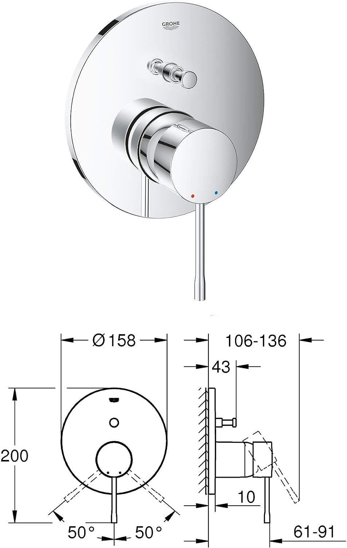 vanvilla Duschset mit Unterputz Armatur Grohe Essence Einhandmischer und vanvilla Regenduschkopf rund Dusch-SET G05 poliert