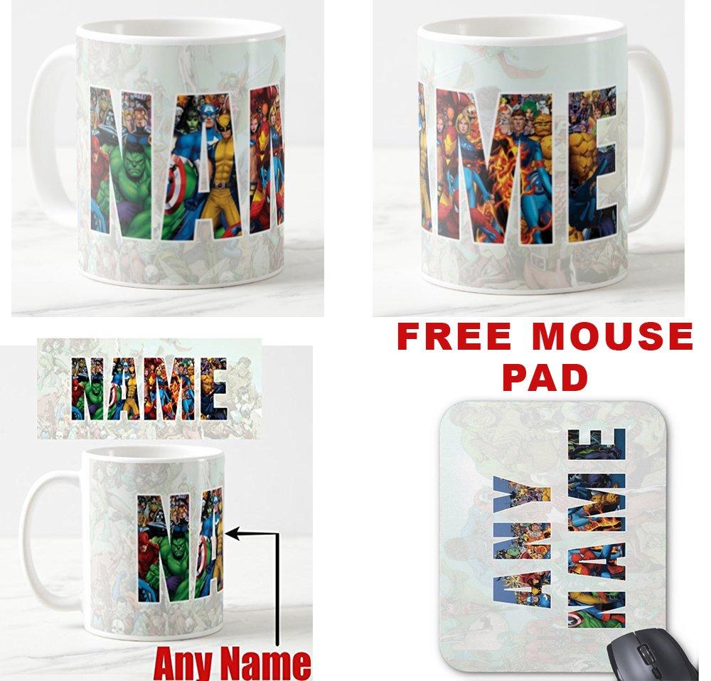 Genuine_Mugs Marvel Heroes Personalised Any Name Logo Mug and FREE Marvel Mouse Pad 5mm Thick Mat Present Novelty Gift Sets Kids Xmas